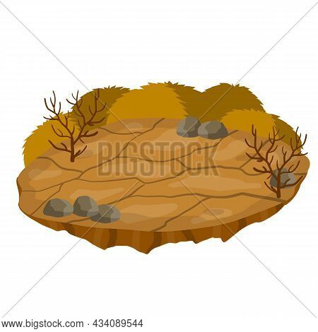 Dry Land Steppes And Deserts. Element Of Game And Background. Dirt And Dust. Cartoon Illustration. P
