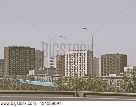 Infrastructure Of The Sleeping District Of The City. Housing For Urban Families In A Residential Are