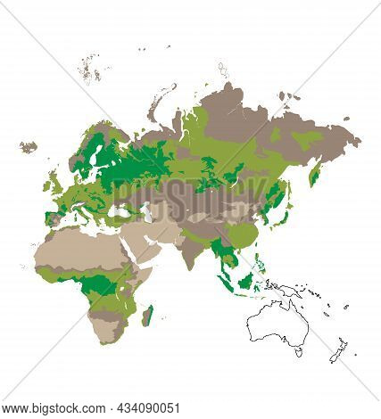 Map Of Afro-eurasia - Habitat Distribution - Flat Vector Isolated