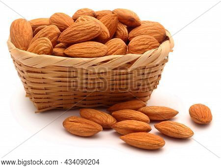 Big Raw Almonds. Almond Concept With Copyspace.