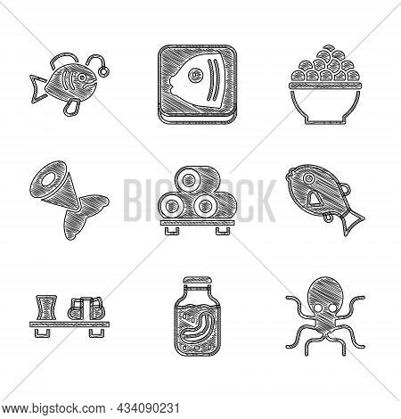 Set Sushi On Cutting Board, Sea Cucumber Jar, Octopus, Tropical Fish, Fish Tail, Caviar And Icon. Ve