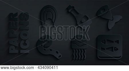 Set Jellyfish, Fish Tail, Octopus Of Tentacle, Canned, Soy Sauce Bottle And Steak Icon. Vector