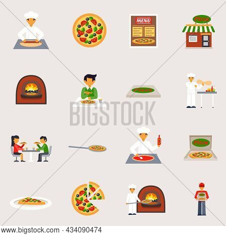 Pizzeria Icons Set With Pizza Oven And Delivery Flat Isolated Vector Illustration