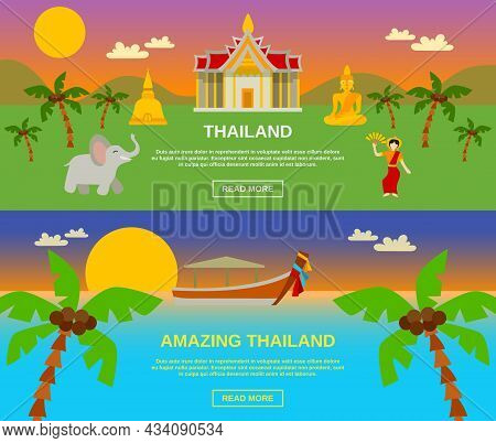 Amazing Thailand Traveling Horizontal Banners Set With Mountains And Sea Flat Isolated Vector Illust