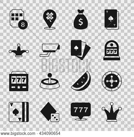 Set Joker Playing Card, Casino Roulette Wheel, Slot Machine With Jackpot, Money Bag, Security Camera