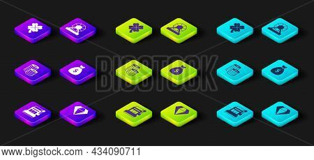 Set Slot Machine, Diamond, Casino Chips, Money Bag, Lottery And Slot With Clover Icon. Vector