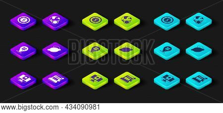 Set Online Poker Table Game, Slot Machine, Casino Slot With Clover, Lemon, Chips And Icon. Vector