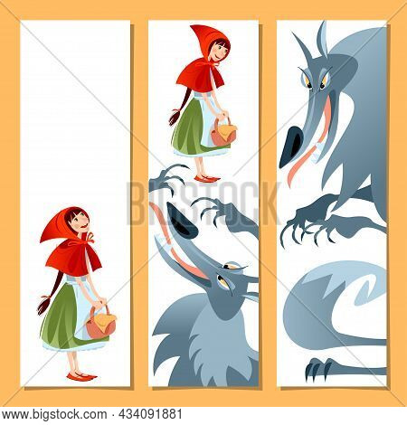 Set Of 3 Bookmarks With Little Red Riding Hood And Big Bad Wolf. Template. Vector Illustration.