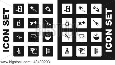 Set Electric Razor Blade, Hairdresser Pistol Spray Bottle, Bottle Of Shampoo, Barber Shop Pole, Mop,