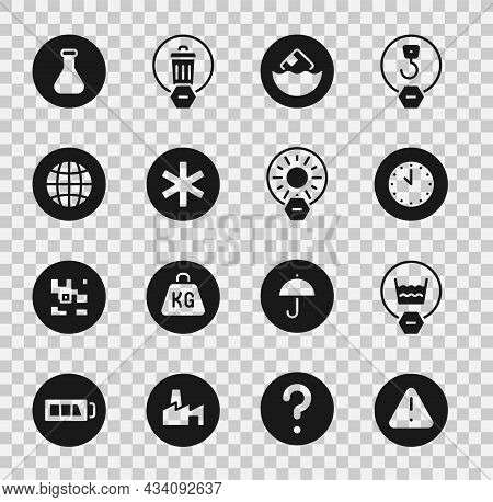 Set Exclamation Mark In Triangle, Delicate Wash, Clock, Carton Cardboard Box, Medical Symbol Of The