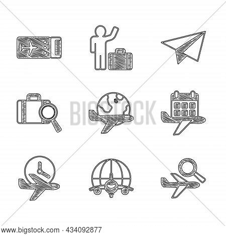 Set Globe With Flying Plane, Airplane Search, Calendar And Airplane, Flight Time, Lost Baggage, Pape