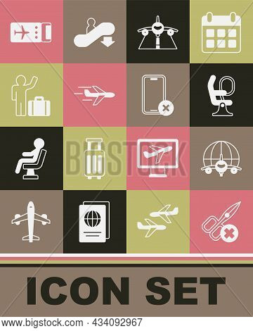 Set No Scissors, Globe With Flying Plane, Airplane Seat, Plane, Tourist Suitcase, Airline Ticket And