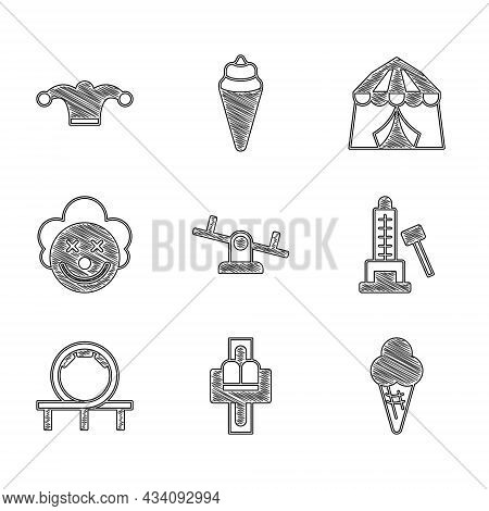 Set Seesaw, Attraction Carousel, Ice Cream In Waffle Cone, Striker Attraction With Hammer, Roller Co