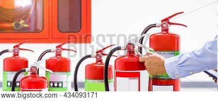 Fire Extinguisher, Engineer Inspection Checking Pressure Gauge Level Fire Extinguisher Tank With Fir