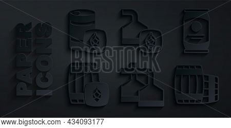 Set Beer Brewing Process, Can, Wooden Barrel, And Metal Beer Keg Icon. Vector