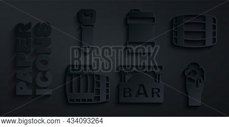 Set Street Signboard With Bar, Wooden Barrel, Glass Of Beer, Metal Keg And Bottle Opener Icon. Vecto