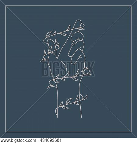 One Line Drawing Of Hand And Leaf Nature Illustration Design. Environmental Lover Concept