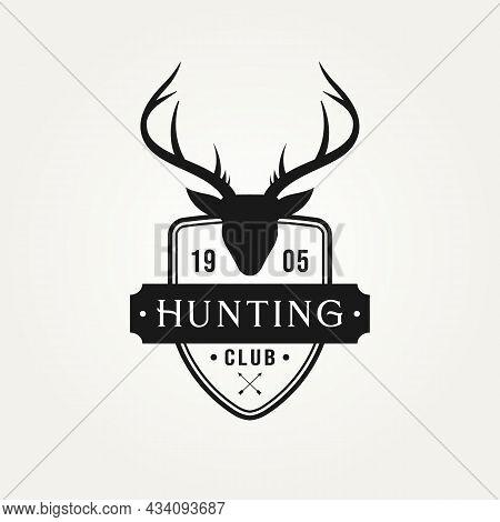 Vintage Hunting Logo With Deer Head Badge Logo Vector Illustration Design. Retro Hunting Club, Deer
