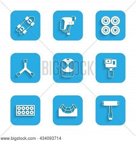 Set Baseball Cap, Skate Park, Skateboard T Tool, Action Camera, Wheel, Y-tool, And Longboard Or Skat