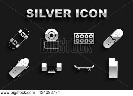 Set Skateboard Wheel, Broken Skateboard Deck, Grip Tape On, And Icon. Vector