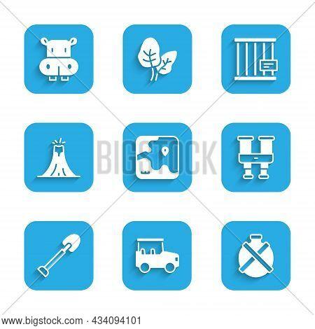 Set Africa Safari Map, Safari Car, Canteen Water Bottle, Binoculars, Shovel, Volcano Eruption, Anima