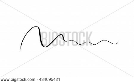 Abstract Vector Wavy Calligraphy Line Divider. Black Illustration. Element Of Design For Posters And