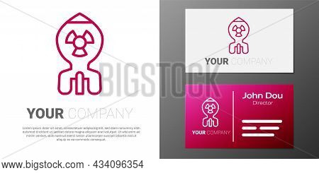 Logotype Line Nuclear Bomb Icon Isolated On White Background. Rocket Bomb Flies Down. Logo Design Te
