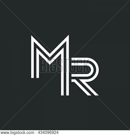 Monogram Mr Or Rm Initials Identity Monogram, Two Letters M And R Combination, Thin Lines Black And
