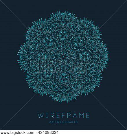 Circle Pattern Technology. Blue Abstract Geometric Shape Tech Pattern On Dark Background. Music Abst