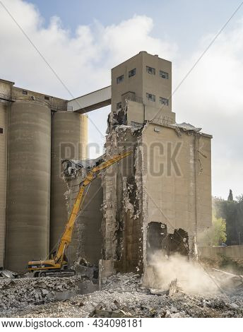 Jerusalem, Israel - September 14th, 2021: The Wrecking Of The Grain Silos Of The Historic Angel Bake