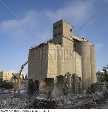 Jerusalem, Israel - September 14th, 2021: The Wrecking Of The Historic Grain Silos Of The Angel Bake