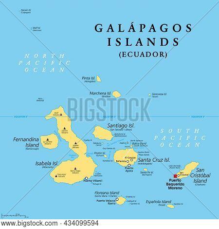 Galapagos Islands, Ecuador, Political Map, With Capital Puerto Baquerizo Moreno. Archipelago Of Volc