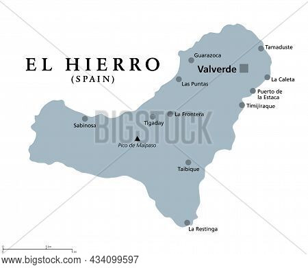 El Hierro Island, Gray Political Map, With Capital Valverde. Nicknamed Meridian Island, Part Of Cana