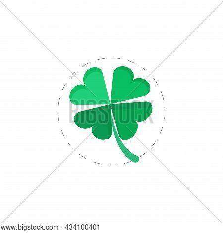 Four Leaf Clover Vector Colorful Clipart. Four Leaf Clover Flat Illustration.