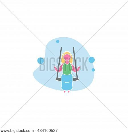 Woman Riding On A Swing Vector Colorful Clipart. Riding On A Swing Flat Illustration.