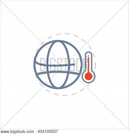 Global Warm Vector Colorful Clipart. Global Warm Flat Illustration.