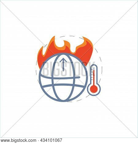 Global Warm Vector Colorful Clipart. Global Warm Flat Illustration