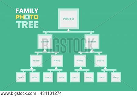Family Photo Tree Info-graphic Vector Illustration. Genealogical Concept.