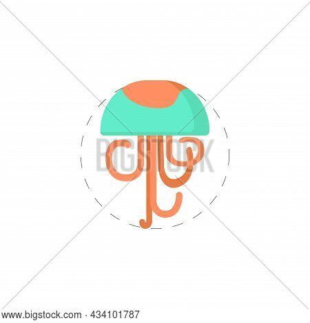 Jellyfish Sea Vector Clipart. Jellyfish Flat Illustration