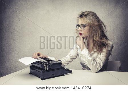 blonde writer reads text