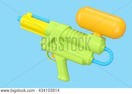 Plastic Water Gun Toy For Playing In The Swimming Pool Isolated On Blue