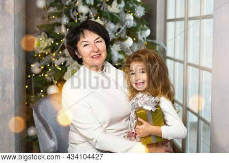 Grandmother With A Little Girl On The Background Of Christmas Decorations And A Large Window. Family