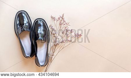 Fashionable Minimalistic Composition, Womens Black Shoes With Dried Flowers. The Arrival Of Autumn,