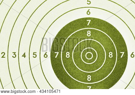 Shooting Target. Green Olive Tinted Background Or Wallpaper. Light Backdrop About Shooting Training