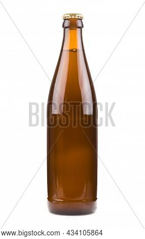 Generic Brown Beer Bottle, Sealed And Filled With Beer