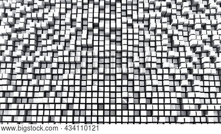 Data array or data storage concept. Peaks of white cubic bars in various depth. 3D illustration, 3D rendering.
