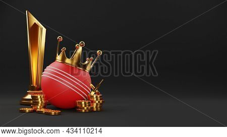 3D Golden Crown Over Red Cricket Ball With Trophy Cup, Crossed Bats And Coins Stack On Black Background.