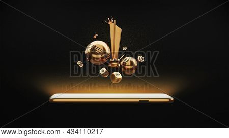 3D Cricket Balls With Dices, Crown, Dollar Coins, Trophy Cup, Smartphone And Golden Particles Effect On Black Background.