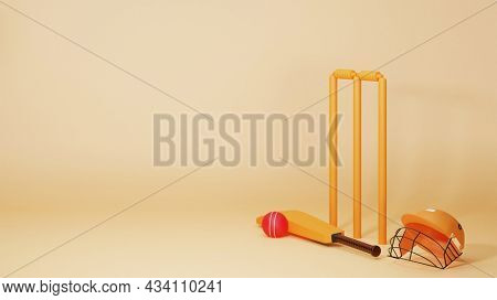 3D Cricket Equipments Like As Bat, Ball, Wicket Stumps And Helmet On Pastel Yellow Background With Copy Space.