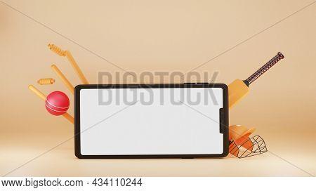 3D Rendering Smartphone With Cricket Equipments On Beige Background.